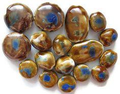 Ceramic Porcelain Beads Large 17 Pc Assorted Golden Brown Blue 37mm 30mm 20mm