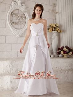 The Brand New Wedding Dress A-line / Princess Sweetheart Belt Brush Train Satin  http://www.fashionos.com/  http://www.facebook.com/quinceaneradress.fashionos.us   With a sweetheart accentuated by several natural ruchings near the waistline, which is dropped nicely by a waistband united with a square embellishment. Then the glossy material runs down in spite of the hinder of the waistband to floor amazingly.