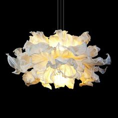 The Fandango Suspension is theatrical in expression, dancing in mid-air with similar drama to a woman twirling her dress. Several layers of petals made from muslin cotton cloth can be shaped and adjusted to desired wave. The piped-edge, yet flowing feel gives a luxe touch. Available in small or large. Two 50 watt 120 volt JCD G9 base halogen bulbs are required, but not included. Small: 29.5 inch width x 15.75 inch height. Large: 39.4 inch width x 25.6 inch height. UL listed. Contemporary Pendant Lights, Modern Pendant Light, Modern Lighting, Lighting Ideas, Lighting Design, Chandelier Pendant Lights, Hanging Pendants, Deco Luminaire, Bedroom Lighting