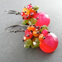 Pink Chalcedony Carnelian and Vesuvianite Carved by SurfAndSand
