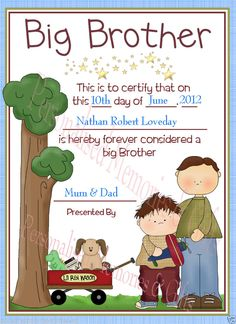 Big Brother Certificate -Personalised Gift for Sibling -Arrival Of Baby Boy Girl