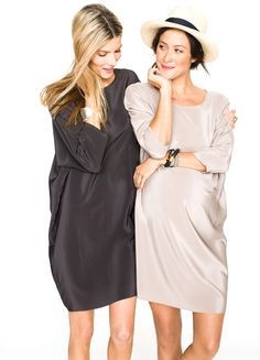 What a beautiful, chic maternity dress: Hatch Maternity Shirtdress. Don't want to say this, but I'm not pregnant, and I would still wear it. Sincerely, Biddy Craft