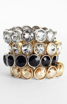 Lydell NYC Crystal Stretch Bracelet available at #Nordstrom need the silver and gold with white diamonds please!!!