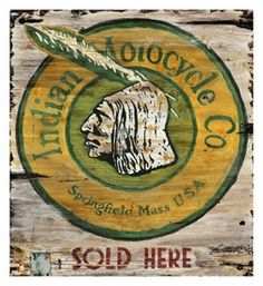 Customizable Indian Motorcycle Co. Sold Here Vintage Style Wooden Sign