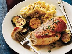 Sautéed Chicken and Zucchini with Parsley-Chervil Pan Sauce | Bird is the word. Versatile and quick-cooking, chicken and turkey are staples of a healthy weeknight pantry.