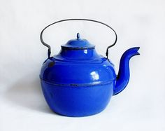 RARE Large Vintage French Royal Blue Enamel Teapot