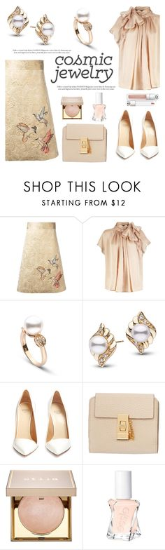 """""""Cosmic Jewelry"""" by pearlparadise ❤ liked on Polyvore featuring RED Valentino, Francesco Russo, Chloé, Stila, Essie, contestentry, pearljewelry, pearlparadise and cosmicjewelry"""