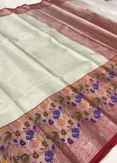 Sarees Online | Buy Sarees Online |@ ibuyfromindia.com Kora Silk Sarees, Kanjivaram Sarees, Fancy Sarees, Party Wear Sarees, White Saree, Organza Saree, Work Sarees, Saree Dress, Beautiful Saree