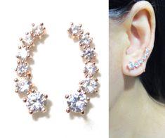 CZ Rhinestone Clip-on earrings Crystal Clipons Rose Gold Cuff Earrings, Clip On Earrings, Pierced Earrings, Wedding Clip, Earring Backs, Ear Piercings, Crystal Rhinestone, Ear Cuffs, Rose Gold