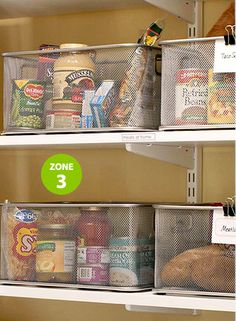 How to organize your food for camping trips:: tips and ideas:  magnetize wire bins on shelves