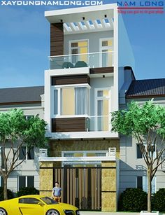 Narrow House Designs, Modern Small House Design, Modern Minimalist House, House Outside Design, House Front Design, Bungalow House Design, House Elevation, Villa Design, Facade House