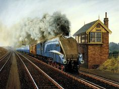 Steam Train Painting by Howard Fogg - The Inter 4468 Steam Locomotive and Railroad Roundhouse 24 Train Posters, Railway Posters, Train Wallpaper, Rail Transport, Steam Railway, Bonde, Train Art, Train Pictures, Train Journey