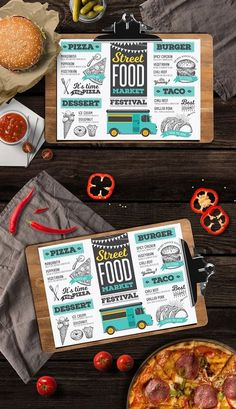 Creative and modern food truck menu template for your restaurant business. This template can be used as vintage menu, printable menu, festival menu, restaurant menu, food menu inspiration. Food Trucks, Food Truck Menu, Brochure Food, Design Brochure, Food Menu Design, Food Truck Design, Texas Chili, Burger Street, Streetfood Festival