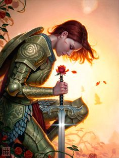 Fantastic female armor. NOT SKIMPY-SEXY FOR A CHANGE. Props to the artist, Daniel Dos Santos. This is the cover for Fables #136, a comic about fairytale characters in the modern world. http://www.vertigocomics.com/comics/fables-2002/fables-136