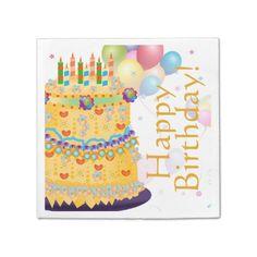 """Yellow """"Happy Birthday"""" Cake - Paper Napkin 2"""