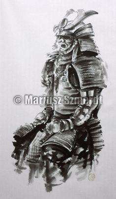 Samurai sword samurai mask armor  japanese art sumie by Szmerdt, $360.00