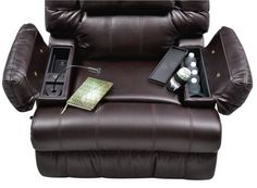 This reclining chair is awesome!! It has a charging station, book light, and can hold 4 drinks! So cool!!