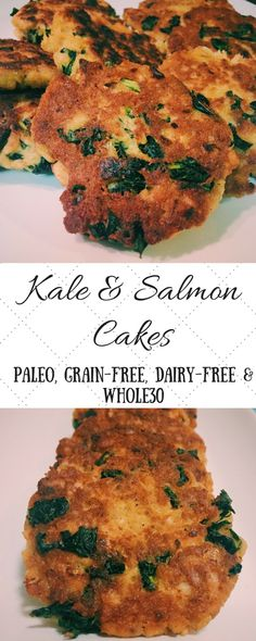 Kale & Salmon Cakes   MadeItLoveItPaleo. These delicious patties are grain-free, dairy-free and Whole30 compliant.