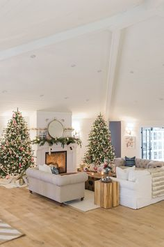 wood_ceiling_beams_fireplace_christmas_trees_modern_farmhouse