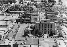 Waco City Square, City Hall, Bridge Street, Suspension Bridge, Waco, Texas, c.1945 by The Texas Collection, Baylor University, via Flickr