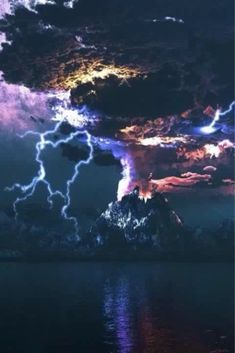 Composite photo of Raging Nature: Landscape of lightning storm over a volcano, with pillars and circling clouds purple and red in the still foreground waters. All Nature, Science And Nature, Amazing Nature, Beauty Of Nature, Science Art, Science Fiction, Beautiful Sky, Beautiful World, Beautiful Disaster