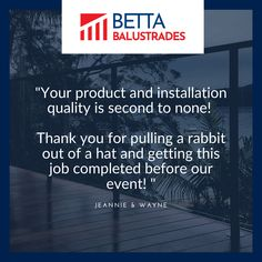 """We love when our clients send us beautiful messages after their instalation! 🥰 """"Your product and installation quality is second to none! Thank you for pulling a rabbit out of a hat and getting this job completed before our event! """" - Many thanks Jeannie & Wayne from the Betta Balustrades team! #bettabalustrades #balustrades #landscaping #homeinspiration #centralcoastnsw #newcastle #sydney Balustrade Design, Glass Balustrade, Glass Pool Fencing, Pool Fence, Happy We, Free Quotes, Newcastle, Betta, Sydney"""