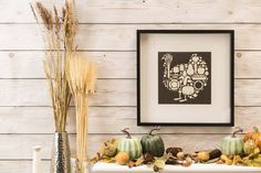 This clean and modern art will add just that perfect touch to your Thanksgiving Decor. Thanksgiving Decorations, Modern Art, My Design, My Arts, Cricut Ideas, Landing, Frame, Projects, Turkey