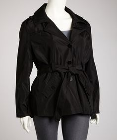 Take a look at this Black Trench Coat - Plus by Dollhouse on #zulily today!