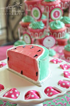 Pretty cake at a Watermelon Birthday Party!  See more party ideas at CatchMyParty.com!