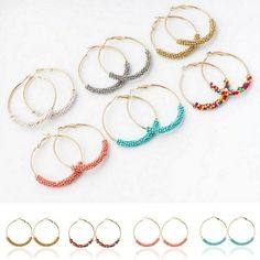 NEW Womens Seed Beads Basketball Wives Earrings 48mm Large Hoop Earrings Jewelry…