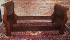 Antique Empire Sleigh Bed in Solid Mahogany Circa 1830 | eBay