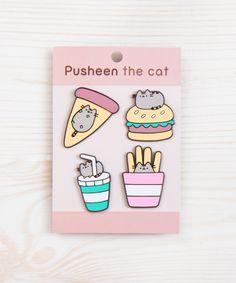 Pusheen Fast Food metal pin set | heychickadee.com