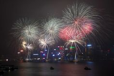 Colorful fireworks lit up the sky over Hong Kong's Victoria Harbor Friday night as the city continued to celebrate the Lunar New Year.