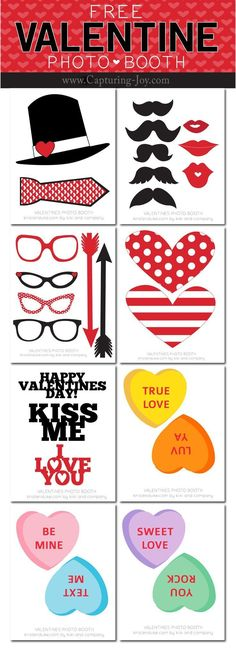 Valentine's Photo Booth Props, free printables- BY KRISTEN DUKE The creative Kiki designed these for me, Valentines Photo Booth, Valentines Decoration, Valentine Picture, Valentines Day Photos, Valentines Day Food, Valentine Day Crafts, Disney Valentines, My Funny Valentine, Kinder Valentines