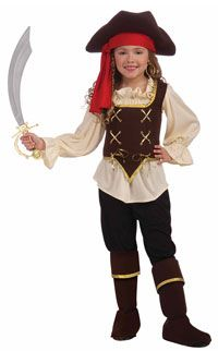 Monstleo Girls Deluxe Pirate Buccanner Princess Costume for Kids Size 7-10 Yearls Old
