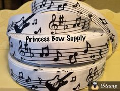 """7/8"""" rock n roll guitar music notes black white grosgrain ribbon BTY for bow boutique sew birthday party supply trebble bass clef 50's night"""