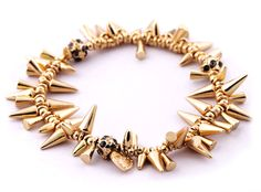 Jewelkick.com - Gold Fireworks Spike Bracelet - Spiky gold bracelet, perfect stackable bracelet. $18