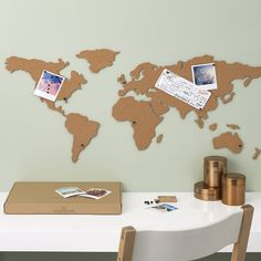 Corkboard Map is the perfect way to display photos, postcards, tickets or any travel memories by pinning on the cork map or the world.
