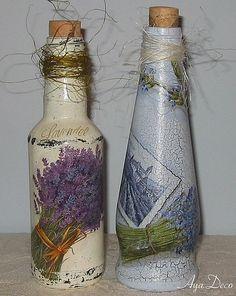 Decoupage Bottles - Lavender