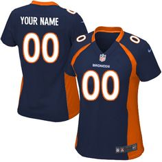 Nike Denver Broncos Customized Navy Blue Stitched Elite Women's NFL Jersey