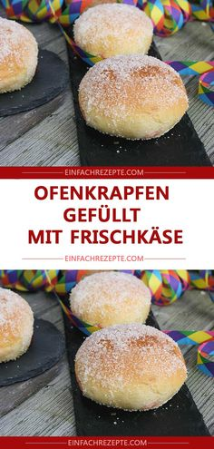 streusel Oven donuts filled with cream cheese 😍 😍 😍 Donut Filling, Snacks Für Party, Donuts, Hamburger, Muffins, Oven, Sweets, Bread, Cheese