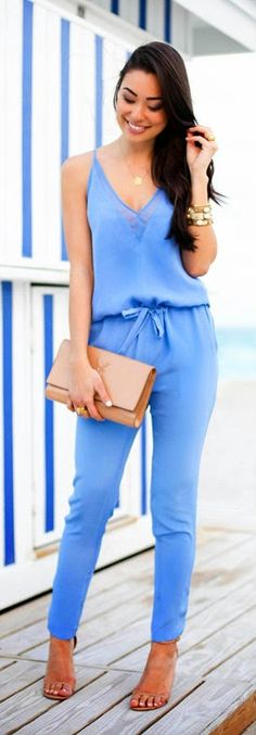 Baby Blue Slouchy Silk Jumpsuit | With Love From Kat