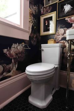 Powder Room by Denise McGaha, Denise McGaha Interiors featuring Fitzgerald Two-Piece Elongated Toilet and Landfair Tissue Holder.