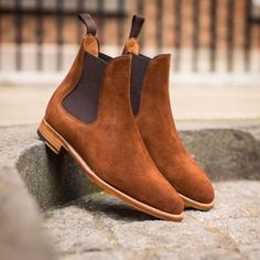 Handmade Chelsea Brown Suede Ankle High Boots Chelsea Dress Casual Boots - Boots