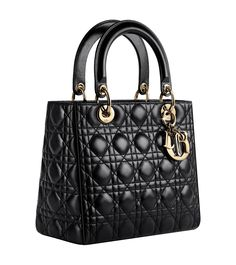 """Lady Dior"" bag in black leather"