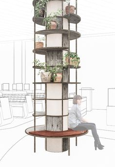 Space separating shelving system incorporated in a column designed by Johannes Torpe Studios Columns Decor, Interior Columns, Restaurant Interior Design, Office Interior Design, Office Interiors, Interior Architecture, Cafe Design, Küchen Design, Store Design
