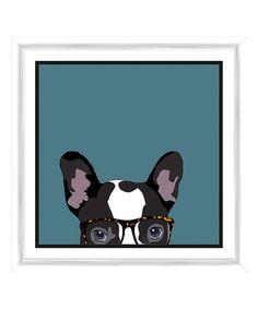 PTM Images Hipster Dog Taking a Peak Framed Giclee Print | zulily