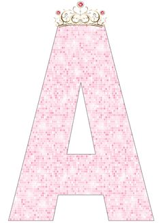 Pink Alphabet with Crown. Scrapbook Letters, Letter Art, Letter Fonts, Alphabet And Numbers, Cute Wallpapers, Girl Birthday, Iphone Wallpaper, Aurora Sleeping Beauty, Projects To Try