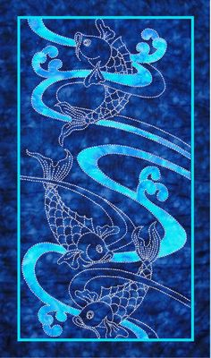 Koi water and waves design by Sylvia Pippen