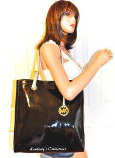 e9a9449de78b MICHAEL KORS Jet Set Black Patent Leather Shoulder Tote Bag Purse NWT